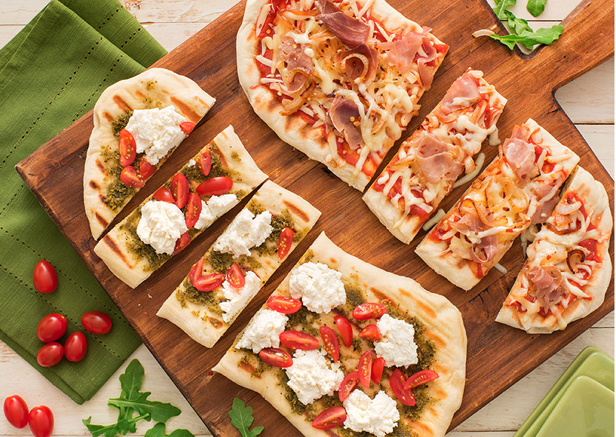 grilled flatbread pizza duo