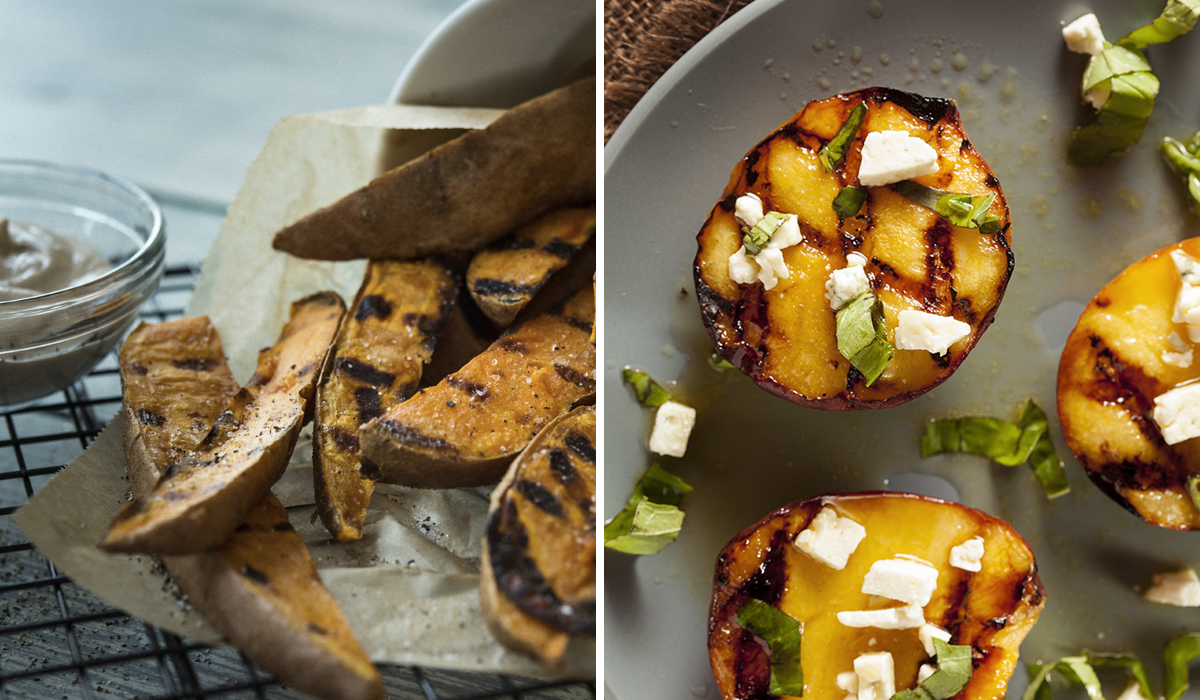 George Foreman Tips & Tricks Valentines Day Blog Post - Sweet Potato Fries & Grilled Peaches