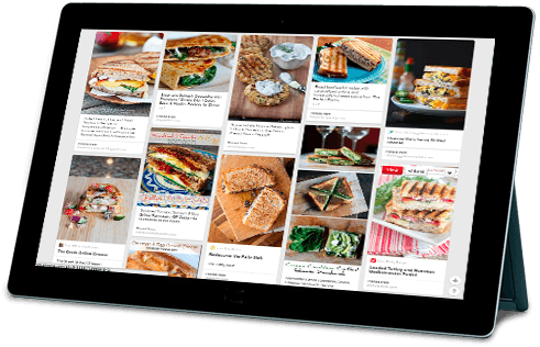 Tablet with George Foreman Recipes Displayed