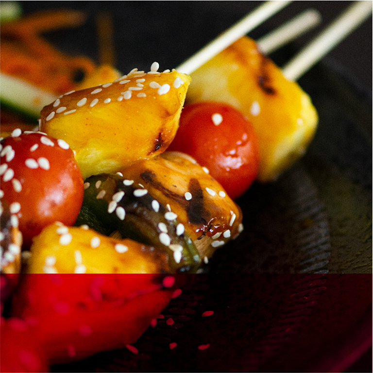 char-grilled sweet and sour chicken skweres