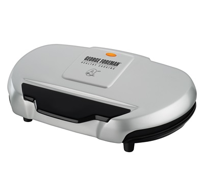 The Grand Champ Grill GR144: Enjoy electric grilling inside with this large silver grill from George Foreman