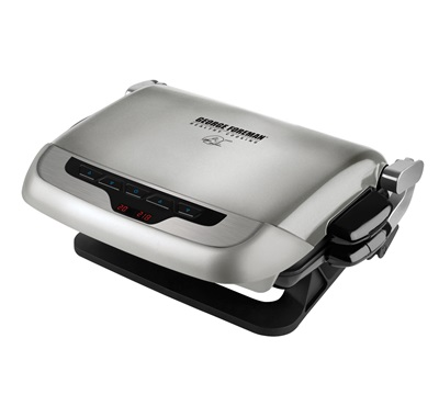 The Evolve Grill - Bake - MiniBurger GRP4EP: Enjoy more versatile cooking with this medium silver grill from George Foreman