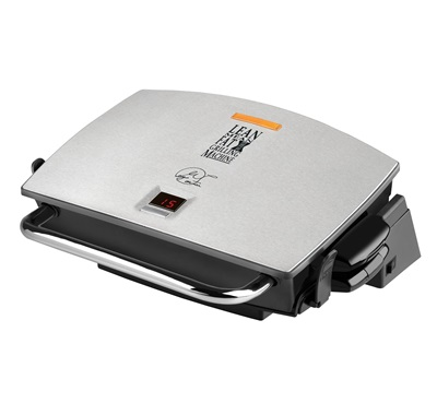 The G-Broil Supreme GRP72CTTS: Enjoy versatile grilling with this medium silver grill with removable grill plates from George Foreman